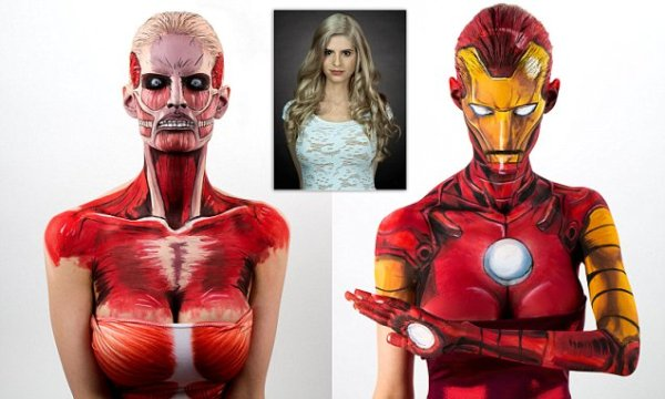 MANDATORY CREDIT: Kay Pike/REX Shutterstock. Editorial use only Mandatory Credit: Photo by Kay Pike/REX/Shutterstock (5579794aj) Kay Pike bodypainted as Iron Man The Amazing bodypainting of Kay Pike, Calgary, Canada - 02 Feb 2016 FULL COPY: http://www.rexfeatures.com/nanolink/rycm *VIDEO FOR SYNDICATION (password: kayvid): https://vimeo.com/154595488 They look like vibrant frames from a comic book, but these are in fact stunning real-world photographs of an amazing female bodypainter. Kay Pike spends up to 15 HOURS painstakingly recreating superheroes and comic book villains on her skin. Despite looking naked, the 28-year-old uses a clever layer of latex to ensure the painting follows the contours of her body. Her work includes popular characters including Spider-Man, Iron Man, and Robin from Batman, as well as cult figures from the world of Marvel and Japanese Manga. Unbelievably, Kay a fine artist from Calgary in Canada, only attempted her first ever bodypaint in December 2015. Previously a fan of dressing up for cosplay events, Kay discovered she could put her artistic skills to use in transforming her appearance.