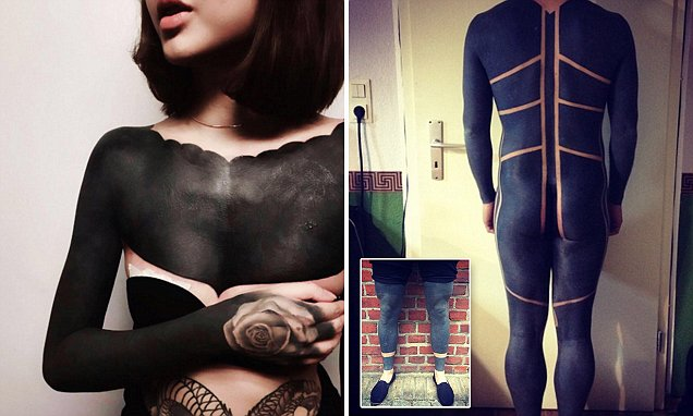 The new trend in inking sees people tattooing solid black ...