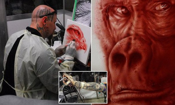 Meet Sydney man Rev Mayers who paints with his own BLOOD - hooking himself up to an airbrush machine and spraying it on canvas