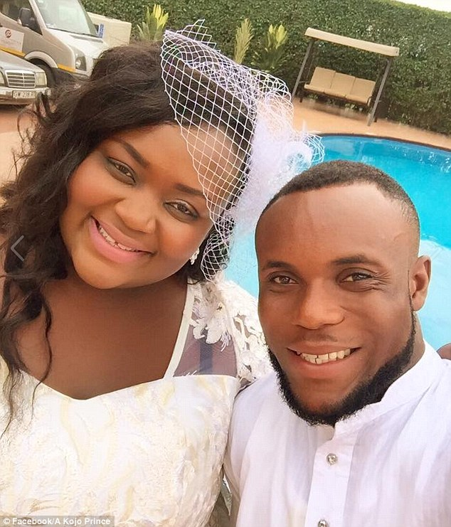 Mzznaki Tetteh, a nurse from Ghana, walked down the aisle with construction worker Kojo Amoah at the weekend
