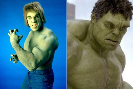 Lou Ferrigno on the left as the first live-action Hulk, and Mark Ruffalo's CG version on the right