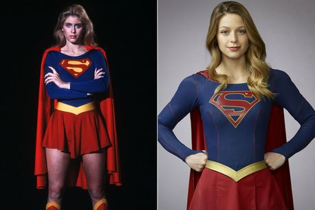 Helen Slater, left, and Melissa Benoist as Supergirl