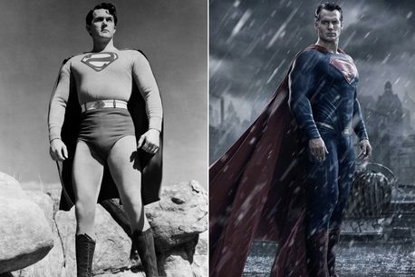 Kirk Alyn, left, and Henry Cavill as Superman