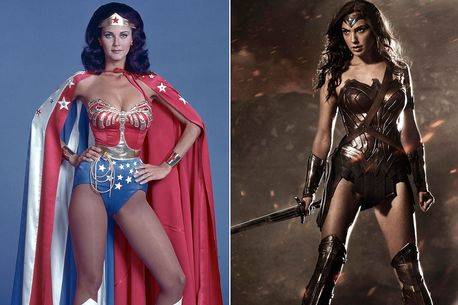 Lynda Carter, left, and Gal Gadot as Wonder Woman