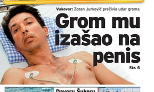"Pic shows: cover of newspaper showing Zoran Jurkovic. Doctors say a cyclist survived after being struck on the head by a bolt of lightning after the electricity earthed itself through his penis. Zoran Jurkovic, 41, from the small eastern Croatian village of Petrovci had been walking along listening to his headphones when the thunderstorm started. At the time he had been wearing his working overalls, which included a high visibility jacket and fix old rubber boots. Because he had the boots on, the electricity was not able to earth through his feet, but apparently after striking him on the head doctors claimed that instead of passing through his body, probably destroying his internal organs and stopping his heart, the electricity had followed the cables of the headphones. They said it had then left his body by earthing through his private parts. They said that the small radio he had been carrying had been clipped onto his belt and that he had been riding on his bike when the storm broke out. He said: ""I saw black clouds and flashes of light appear in the sky and thunder could be heard booming across the nearby fields. I tried to ride faster to get to shelter in time, but I was too late."" Passers-by driving in a van witnessed the incident and one of them told local media: ""We were shocked when we saw the man. He was sat in the rain and steam was coming out of his body. ""The bicycle was next to him. We took him in our van and drove him to the hospital. Doctors were also amazed that he was alive."" The medics said that it was a miracle that the lightning charge had bypassed Zoran's chest and missed his heart. (ends)"