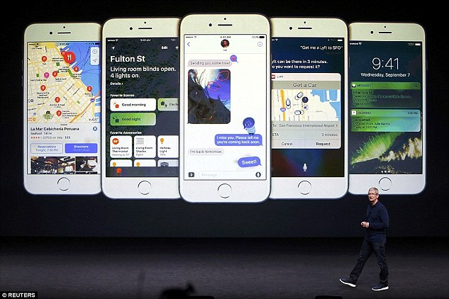 Tim Cook runs through the new iOS 10 software at Apple's launch event