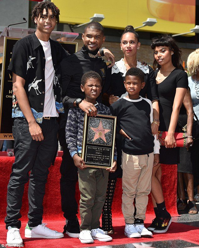 Family affair: Grace and his brood joined the star when he Usher was honored with a star on the Hollywood Walk Of Fame in September